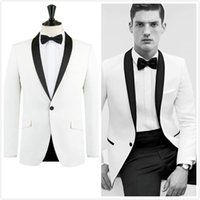 best suits for men - 2016 New Trends white and black shawl lapel Groom s suits Wedding Tuxedo For Men Best man s Peices Suits Jacket Pants Bowtie