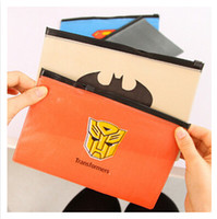 Wholesale HOT SELLING newest student stationery lovely Candy color captain America superman transformers batman heroes theme zipper envelope00303