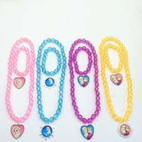 beads plastic beads - Beads Children Necklace set Ice and Snow Children Necklace Girls Ice and Snow Anna Elsa Printing Necklace Girl Costume Necklace