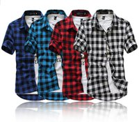 Wholesale Casual Shirts Red And Black Plaid Shirt Men Shirts New Summer Spring Fashion Chemise Homme Mens Dress Shirts Short Sleeve Shirt Men