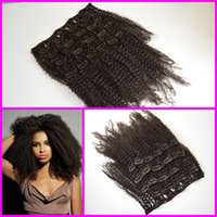 hair extension clip - 4a b c a b c Mongolian virgin afro kinky curly hair afro african american cheap clip in hair extensions