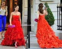 short front long back girls dress - Leighton Meester Blair Waldorf Gossip Girl Strapless Front Short Long Back Red Gown Prom Dress Evening Dress WH469