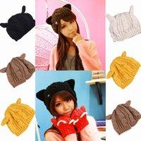 Wholesale Trendy Wool Woman Knitted Cat Ear Beanie Skull Caps Winter Warm Crochet Braided Devil Horns Ski Cuff Hats Colors Choose EMA