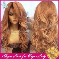 blonde human hair wigs - Honey Blonde Human Hair Full Lace Wig Loose Wave Virgin Peruvian Glueless Human Hair Lace Front Wigs With Baby Hair Color