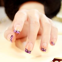 american french nails - American style New translucent purple leopard printed pattern false nails set French short size full nail tips cute fake nails