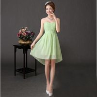 Cheap Model Pictures simple bridesmaid dresses chiffon Best A-Line Strapless green bridesmaid dress