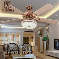 Wholesale 52inch crystal ceiling fans with lights wood modern dining room ceiling fans classic ceiling lamp
