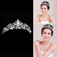 Cheap Shining Beaded Crystals Wedding Rhinestone Crowns Fashion Bridal Crystal Veil Tiara Crown Headband Hair Accessories Wedding Party Bride Gift