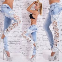 Wholesale Women Fashion Slim Lace Crochet Stretch Denim Jeans Hollow Out Skinny Jeans Woman Pencil Pants Trousers for Women