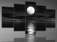Wholesale 100 Hand painted Back Oil Wall Art Sea White Full Moon Night Home Decoration Abstract Landscape Oil Painting on Canvas set
