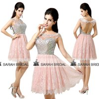 Jewelry Sets Crystal Crystal 2015 Arabic Luxury Cocktail Dresses For Evening Parties Hot Sale Cheap In Stock Pink Lace Tulle Sheer Crew Neck Backless Beach Gala Gowns
