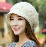 Wholesale New Women Hat Winter Beanies Knitted Hats For Woman Rabbit Fur Cap Autumn And Winter Ladies Fashion Skullies
