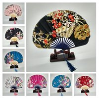 Wholesale Lady Silk Folding Hand Fans Shell Style Bamboo Dancing Dance Flower Fan Wedding Bridal Party Decor Gifts