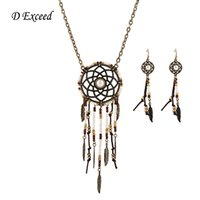 antique feather tree - Bohemian Indian Vogue Jewelry Sets Antique Bronze Plated Feather Tree Leaf Necklace Earring Sets for Women Dreamcatcher Necklace Drop Stud