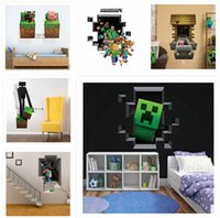 Wholesale 8 styles Minecraft D Wall Stickers Creeper Decorative Steve Dig Wall Decal Cartoon Wallpaper Kids Party Decoration Festival Wall PosterA224