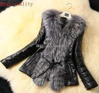 Wholesale New Top Fasion Special Offer Button Solid Design Female High copy Fox Fur Vest Leather Outerwear Plus Size Women Coat jacket