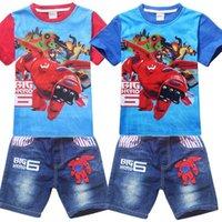 Cheap Hot sale 2015 Newly Cartoon BIG HERO 6 Kids Baymax Short Sleeve T-shirts Cute Hiro Baymax Boys Top Tees Fashion Tshirt For Kids 4-10yr