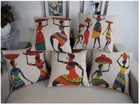 Wholesale Pillowcase African lace high quality Ancient Egyptian style cotton linen Cushion Home Pillow Case simplicity Decorative x45CM gifts