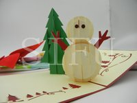Wholesale Handmade Creative Christmas Cards D Pop Up Kirigami Origami Cards Gift For Greeting Wishing Congratulations D Stereoscopic Snowman Card