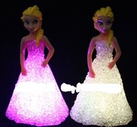 Wholesale 5pcs new froze Colorful Night Light When Crystal seven color luminous Princess Ann led lights