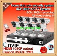 achat en gros de disque dur système de vidéosurveillance hdd-CIA- Accueil 8CH H.264 CCTV DVR réseau intégré 1000Go disque dur IR extérieure système de kit caméra de sécurité CCTV étanche 8pcs HDD