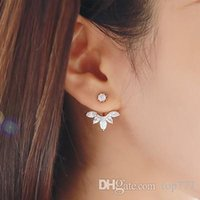 big clip earrings - 1016 Fashion Earing Big Crystal Rose Gold Silver Ear Jackets Jewelry High Quality Leaf Ear Clips Stud Earrings For Women White Rhinestone