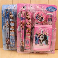 Wholesale New Frozen Wallet Suit Children Stationery Set set Pencil ruler pencil sharpener eraser wallet DHL set
