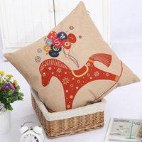 Cheap New Zakka 1Pcs Trojans and Mr. Deer household sofa cotton linen pillow cover car cushion cover bedding decoration 43cm*43cm