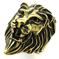 indian head rings - Punk Jewelry Mens Boys Soild Gold Visual Fierce Lion Head Stainless Steel Cool Bike Finger Ring High Quality