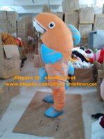 Wholesale Vivid Orange Common Carp Fish Mascot Costume Mascotte Crucian Cyprinoid With Blue Fins Blue Stripes Skin Adult No Free Ship