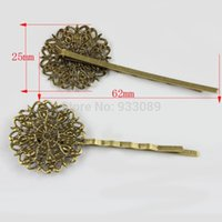 antique filigree settings - Antique Bronze Cabochon Setting Bronze filigree Toned bobby pins Hair Clips mm