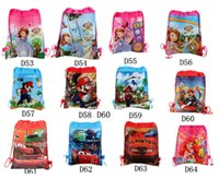 school bags - Frozen TMNT DOC mcstuffins Super Mario ninja turtles despicable me spider man how to train TURTLES string backpack for kids school bag D240