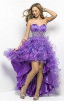 apple party favors - Prom Dresses Sweetheart Girl Beaded Waist Ruffle Adult Party Favors Short Front Long Back Purple korean Dresses