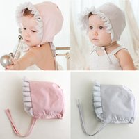 Wholesale Baby Infant Girls Toddler Newborn Cap Princess Lace Flower Tether Cotton Hat