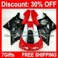 Wholesale 7gifts Red Black Full Fairing Kit For YAMAHA FZR400 FZR FZR Glossy black red Fairings Bodywork Body Y