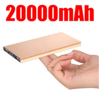 Wholesale 20000mah Ultrathin Slim Power Bank External Emergency Battery power banks Portable Charger powerbank Flashlight For iphone s plus Phones