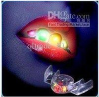 Wholesale 288 BBA4640 LED Flash Teeth Luminous Led Teeth Braces Tooth Socket Led Mouth Flashing Teeth Mouth Toy Fashion Halloween Teeth Gifts Crafts