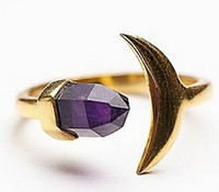 faceted gemstones - New Arrival Faceted Natural Amethyst Gemstone Moon Fish Women Cluster Ring fashion designer rings for women