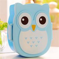 Wholesale Plastic Microwave Bento Box Kids School Lunch Cartoon Cute Owl Food Storage Container Dinnerware Set