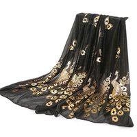 arab scarf - Women Neck Scarves islamic hijab Fashion Peacock Imitated Silk Scarf Noble Kingly animal print arab scarf echarpe Neckchief