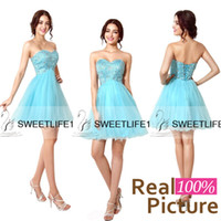 Wholesale 2015 Short Tulle Homecoming Dresses Sweetheart Knee Length A Line Sweet Graduation Gown Crystal Rhinestone Sky Blue Real Image Stock Gown