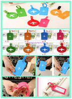Wholesale 2015 Newest style Fashion Silica Gel Luggage Tag Airplane Pattern Rectangle Round Shape Label Bags Tags Candy Colors Name Tag B1