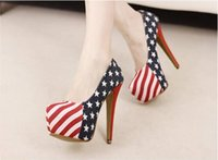 Women american soles - New Upgraded American Flag Dreamy stripe and stars cartoon print sole heel shoes pumps size