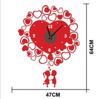 artistic wall decals - Kiss Removable DIY creative clock wall stickers for wedding Decals home decorations Artistic Wall Hanging Clocks