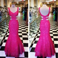 Cheap Sexy Fuchsia Lace Prom Dresses Mermaid 2015 Long Backless Evening Dresses With Straps Custom Made Real Picture Special Occasion Evening Gown