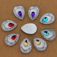 acrylic teardrop beads - 50pcs mm Dual color Drop Acrylic Crystal Rhinestones flat back Beads crafts Scrapbook ZZ259
