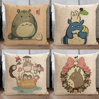 Wholesale Totoro pillow cover Japanese Hayao Miyazaki chinchilla Totoro cotton linen throw pillow cushion cover pillowcase home decor