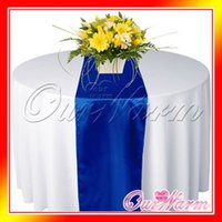 Wholesale Pieces New Royal Cobalt Dark Deep Blue quot x108 quot Satin Table Runners Wedding Party Supply Adornment Colors