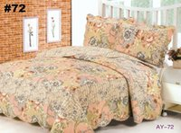 Cheap BS15#72 Free Shipping DHL 3 PCS Quilt Bedspread Blanket Cover Flower Romantic Floral Design Queen, King Size