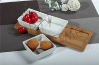 appetizer trays - Ceramic square dish with bamboo tray appetizer serving set